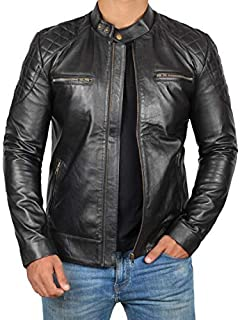 Black Leather Jacket Men - Cafe Racer Motorcycle Leather Jackets for Mens