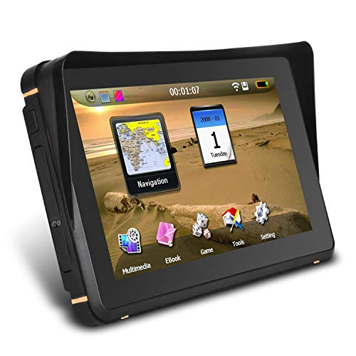 Waterproof GPS Navigation for Motorcycle Cars - 7 Inch Speeding Warning Voice Navigation Touch Screen Ultra Bright Rain-Resistant Display