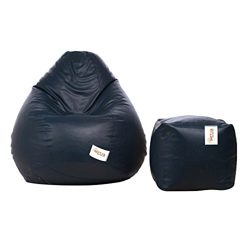 Sattva Combo Classic XXL Bean Bag Cover and Square Footstool Cover (Without Beans) - Navy Blue