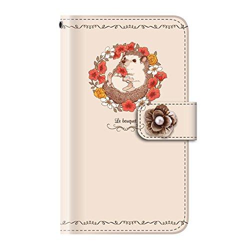 +S iPod touch 第5・第6・第7世代 手帳型ケース デコパーツ フラワー 動物 ハリネズミ(花) PUレザー tmd0013-06