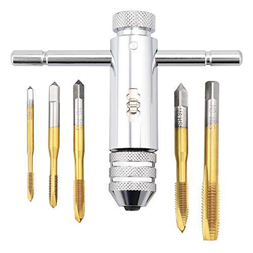 HSEAMALL Llave ajustable M3-M8 de 3 mm-8 mm HSS con mango en T de trinquete, llave de roscado, herramienta de roscado roscado con rosca manual de 5 piezas