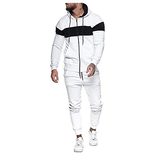 Track suits Color Block Tracksuit Sets for Men,2 Piece Hoodies Jackets Sweatpants Jogging Activewear with Pockets