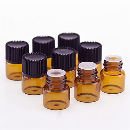 QFDM Botella de Almacenamiento 15 Piezas 1/2/3 / 5ml Vidrio ámbar Aceite Esencial aromaterapia Botella de la Botella de la Muestra marrón Botellas, Jarras y Cajas (Color : C Plug no Hole, Size