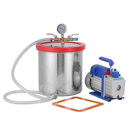 Mophorn 3CFM 5Pa Leere einstufige Vakuumpumpe mit 7,6 l Luftkühler für Vakuumkammer HVAC 50 l/min (3CFM)