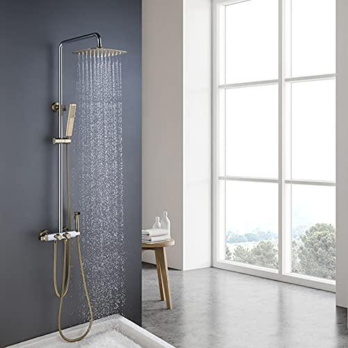 Juego de grifos de ducha, cabezal de ducha tipo lluvia de lujo con rociador de mano, rociador de bidé, juego de grifos termostáticos de pared para bañera, latón macizo,Chrome gold