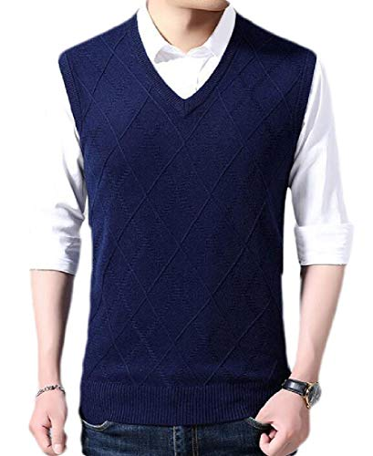 dahuo Mens Casual Slim Fit Solid Lightweight V-Neck Sweater Vest Waistcoat Pullover 4 S