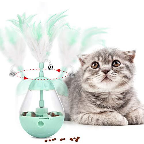猫おもちゃ Bojafa羽のおもちゃ ペット食器 猫犬用 猫 おもちゃ 羽付き 早食い防止 餌入れ だるま おやつボ...