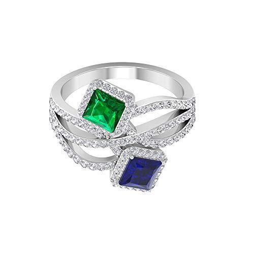 Rosec Jewels 14 quilates oro amarillo talla princesa Round Brilliant Green Blue Emerald Blue Sapphire Moissanite