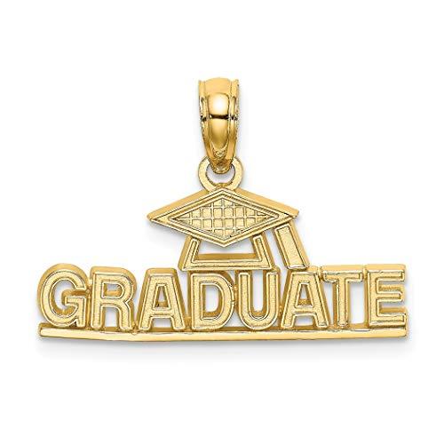 Abalorio de graduación de oro de 14 quilates, muy pulido