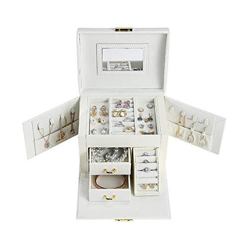 NFRADFM Caja de joyería,Cajón grande Joyería,Organizador de joyas de cuero PU,Pendientes collar caja de almacenamiento de joyería