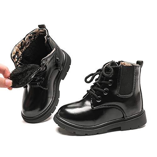 Komfyea Winter Toddler Kids Boots Side Zipper Combat Warm Short Ankle Black Boots for Boy's Girl's