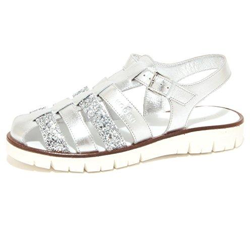 Hogan 6701P Sandalo Bimba Girl Junior RAGNETTO Silver Scarpe Sandal Shoe Kid [35]