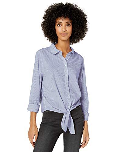 Amazon Brand - Goodthreads Women's Lightweight Poplin Long-Sleeve Tie-Front Shirt, Blue/White Mini-Stripe, Large