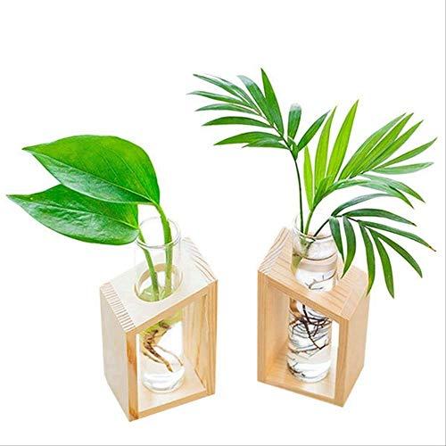 ZHANGMX Hölzerne Blume Topf Kristall Glas Test Tube Vase In Holz Stand Blumentöpfe für hydroponische Pflanzen Home Garden Dekoration 5.5x11.5cm Holzfarbe