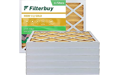 FilterBuy 16x20x2 Air Filter MERV 11, Pleated HVAC AC Furnace Filters (6-Pack, Gold)