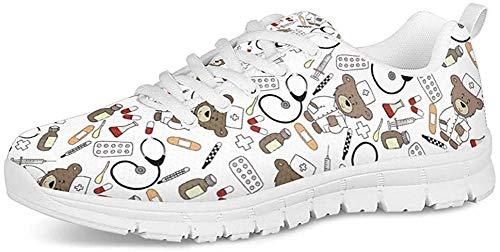 Coloranimal Niedliche Cartoon-Krankenschwester Printed Go Easy Walking Schuhe Langlebig Flache DailyShoes EU-Größe 39