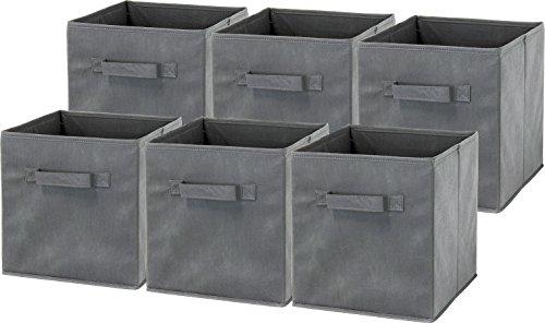 Product Image of the 6 Pack - SimpleHouseware Foldable Cube Storage Bin, Dark Grey
