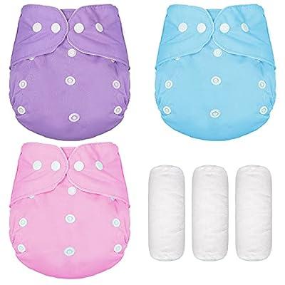 3 Pieces Baby Cloth Diapers Reusable Pocket Clo...