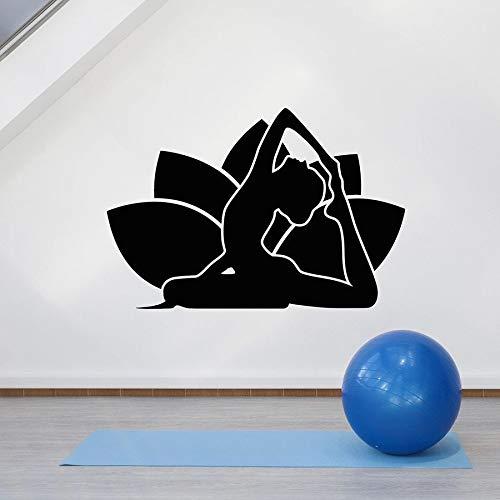 Tianpengyuanshuai fotobehang Lotus gezondheid meditatie yoga vinyl raamsticker yoga kamer slaapkamer decoratieve wandafbeelding