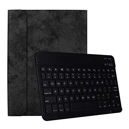 RONSHIN voor Apple iPad Pro 11 Inch Draadloze Bluetooth Smart Sleep Keyboard Beschermhoes Zwart leren hoesje + zwart toetsenbord