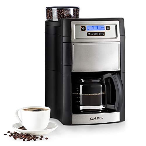 KLARSTEIN Aromatica II - Macchina da Caffè con Macinacaffè, Caraffa 1,25 L, 1000 W, con Filtro, Timer 24 Ore, Piastra Riscaldante, Grigio Argento