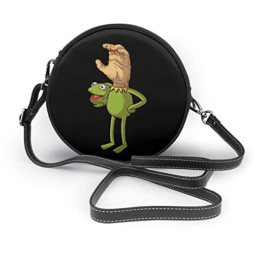 XCNGG bolso del teléfono Kermit The Frog Face Ladies Fashion Round Crossbody Zipper Shoulder Bag Soft Leather Ring Wallet Mobile Phone Bag Coffee