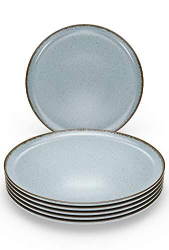Speiseteller Set 6-tlg. - Große Teller in Trendy Rustikalem Design in Blau - Modernes Porzellan Geschirr Set - Spülmaschinenfestes Teller Service Set - Essteller 6er Set flach von Pure Living