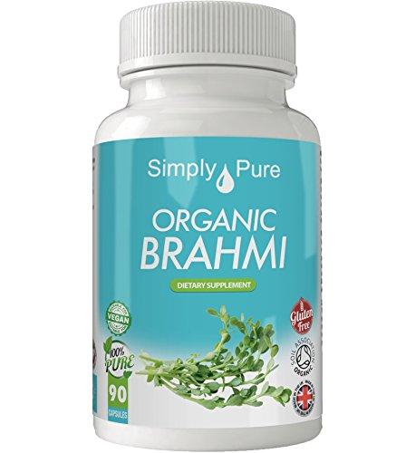 Simply Pure Organic Brahmi Capsules x 90, 500mg, 100% Natural Soil Association Certified, Gluten Free, GM Free and Vegan.