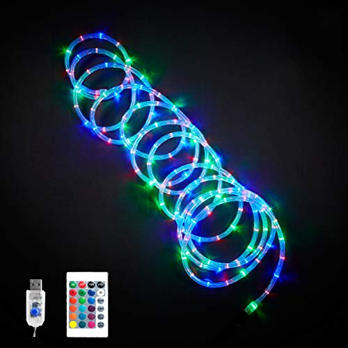 LED Rope Lights Indoor 12M/40FT 120 LED USB IP68 Waterproof Rope Light, Color Changing Long Tube Multicolor Rope Light with 16 Colors 4 Modes Remote for Bedroom Dorm Room Deck Above Cabinet Porch