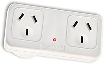 Sansai Horizontal Right Side Powerpoint Double Surge Protector Adaptor/Outlet/AU