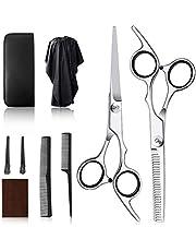 散髪 ヘアカット すきばさみ 初心者 プロ並み仕上がる 美容師 人間工学に基づいた設計 コンパクト (A-シルバー)