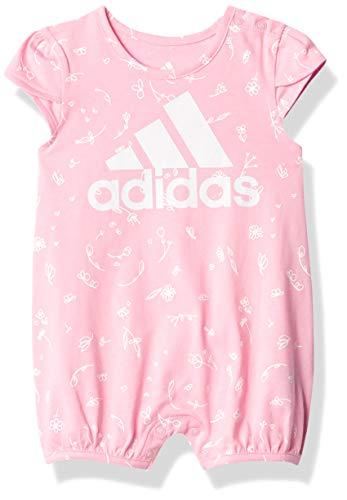 adidas Baby Girls Shortie Cotton Romper (Light Pink, 18 Months)