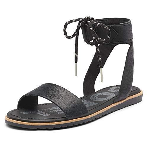 Sorel - Women's Ella Ankle Lace, Leather Sandal with Adjustable Strap, Black, 8.5 M US