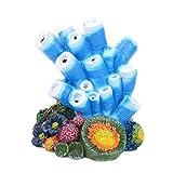 Balacoo Acuario Ornamentales Burbujas Resina Coral Artificiales Planta Ornamental Aire Piedra Burbujas Pescado Escondite Paisaje Submarino para La Decoración Del Tanque de Peces Azul