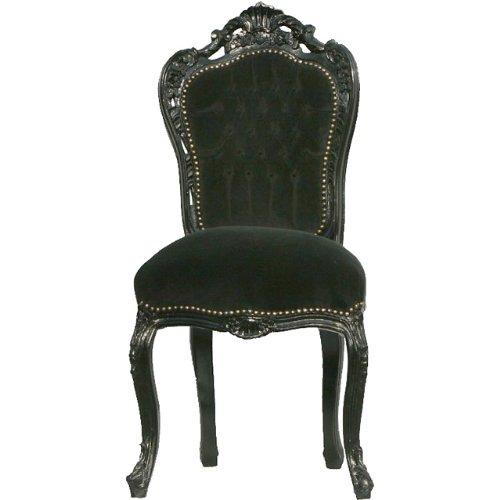 Barock Esszimmer Stuhl Schwarz/Schwarz Ludwig XIV Stuhl Wohnung Wohnen Rokoko Jugendstil Prunkstuhl Rokoko