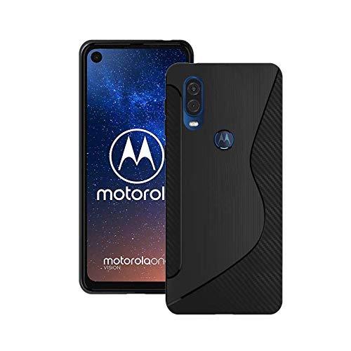 Kompatibel mit Motorola One Vision Silikon S-LINIE GEL TPU Schutzhülle in Schwarz