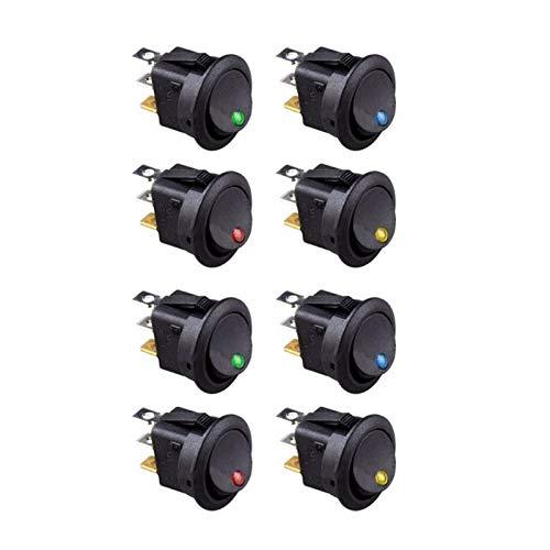 QHMDZ Interruptor basculante 8pcs LED Dot Light 12V COCH AUTOMO AUTOMÁTICO ROQUEO ROQUEO ROQUEADOR ON/Off Toggle SPST Switch (Color : Black)