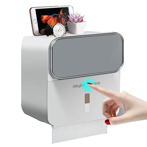 Toilettenpapierhalter Toilettenpapierbox Mit Schublade wasserdichte Toilettenpapierbox Wandregal Aufbewahrungsbox (Color : Gray, Size : 21.5x12.5x20cm)