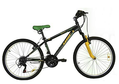 Umit 24 Pulgadas Bicicleta XR-240, Partir de 9 años, con Cambio Shimano y Suspension Delantera, Unisex niños, Negra/Verde