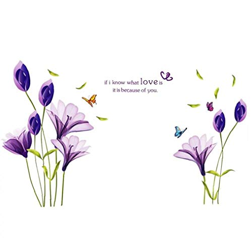 OMMO LEBEINDR Kreative Design Lila Lilien-Blumen-Wand-Aufkleber entfernbares Abziehbild wasserdichte Wand-Aufkleber-Ausgangsdekoration 1PCfor Convenience