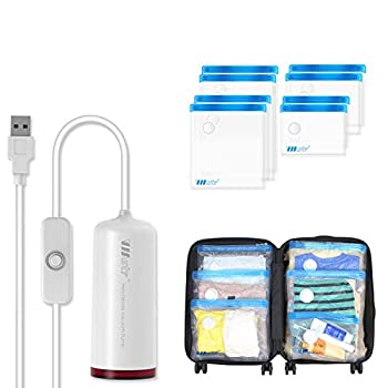 VMSTR Travel Vacuum Storage Bags with USB Electric Pump Medium Small Space Saver Bags for Travel and 3D Printer Filament Storage Kit 8 PCS
