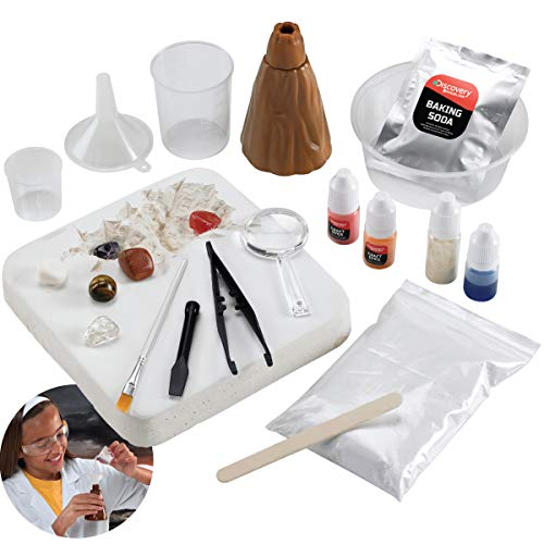 Discovery Kids #MINDBLOWN Ultimate Science Experiment 17 pc Kit, Perform 4 Experiments! Make Slime, Build a Volcano & Dig for Gems, Educational Toy for Children, with Baking Soda, Guar Gum & Craft Dye