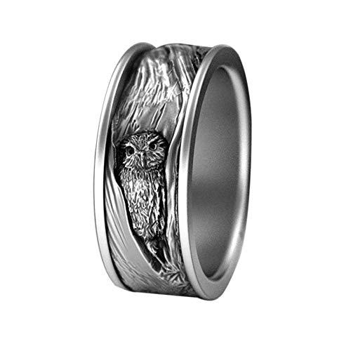 Anillo de plata de ley 925 tallado con búho, estilo vintage, punk hip hop, anillo de búho gótico, para hombre y mujer, diseño de búho negro