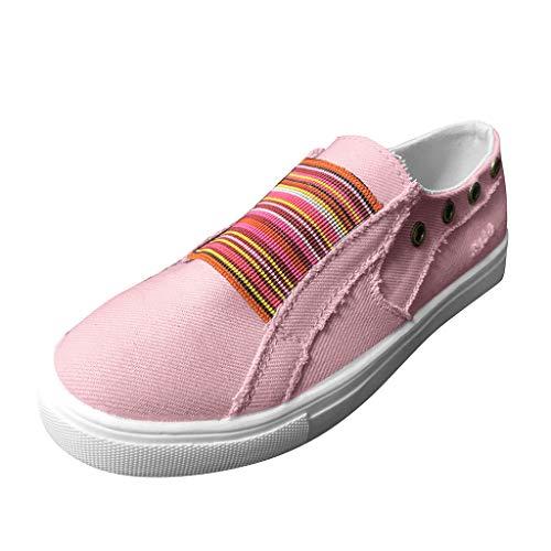 Qiran - Zapatos para mujer de verano con fondo plano, color mixto, casuales, para barco, estilo vintage, zapatos planos, color Rosa, talla 43 EU