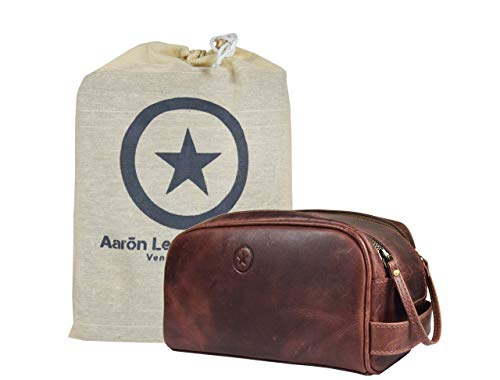 10' Premium Leather Toiletry Travel Pouch With Waterproof Lining | King-Size Handcrafted Vintage Dopp - Kit ~ Gift for Father's Day By Aaron Leather Goods (Dark Brown)
