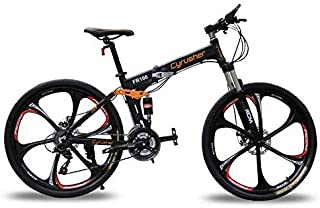 Cyrusher FR100 Folding Mountain Bike Full Suspension 24 Speeds Shimono Shifter with Aluminium Frame Disc Brake and Suspension Fork for Men