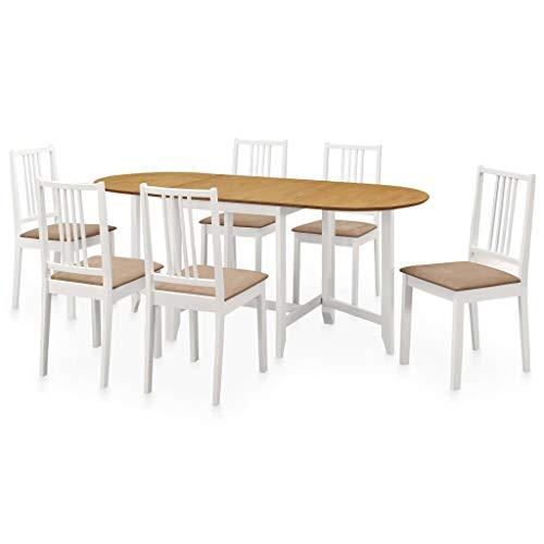 vidaXL Set per Sala da Pranzo 7pz Design Intramontabile Funzionale Durevole Allungabile Stabile Resistente Tavolo Sedie Tavola Seggiole in MDF Bianco