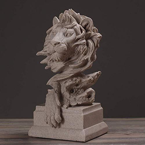 Cakunmik Harz Sandstein Lion Head Statue, Große Löwenkopf Skulptur Home Zubehör Figur Feng Shui Decor Sculpture Gartenhaus und Büro Business Geschenk