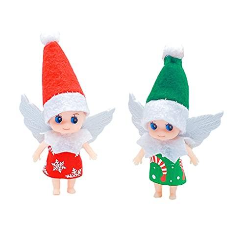 Muñeca de Elfo de Ángel de Navidad Mini Elfos Doble con Brazos Móviles Piernas Figura de Navidad en Miniatura Regalo de Juguete para Niños y Niñas