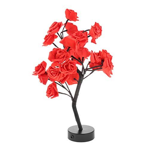 N/A/a 24 LED Rosa Flor árbol luz DIY hogar habitación Festival decoración Centro de Mesa Luces de Hadas - Rojo